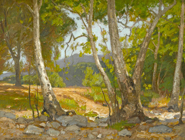 William Wendt (American, 1865-1946) Shady canyon, 1909 24 x 32in