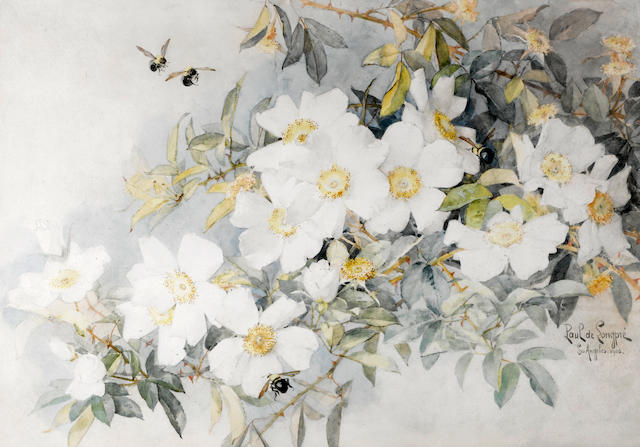Paul de Longpre, White Roses with Carpenter Bees