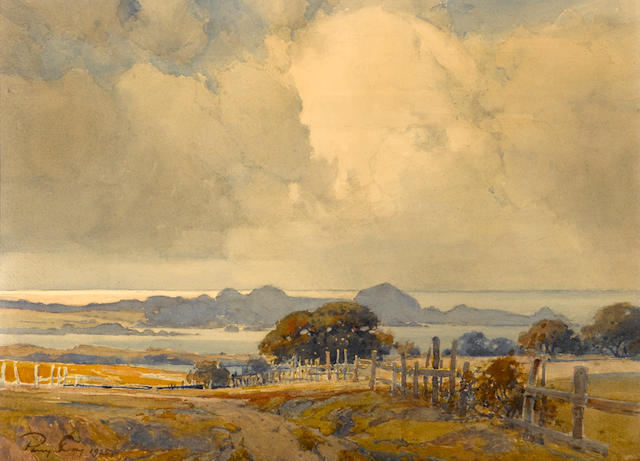 Percy Gray, View to Point Lobos, 1925, watercolr, 16 x 22