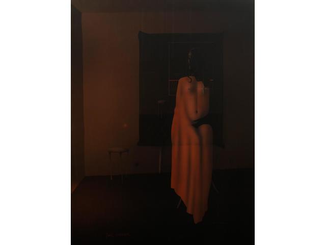 Paul Wunderlich (German, 1927-2010) Seated nude 45 3/4 x 35 1/8in