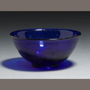 A transparent cobalt blue with incised floral design Republic period