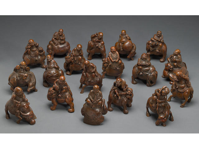 A set of eighteen carved bamboo luohan Qing dynasty