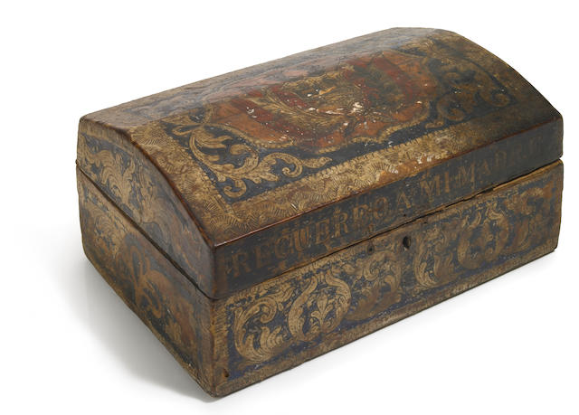 A Spanish Colonial embossed and paint decorated leather table box  mid 19th century