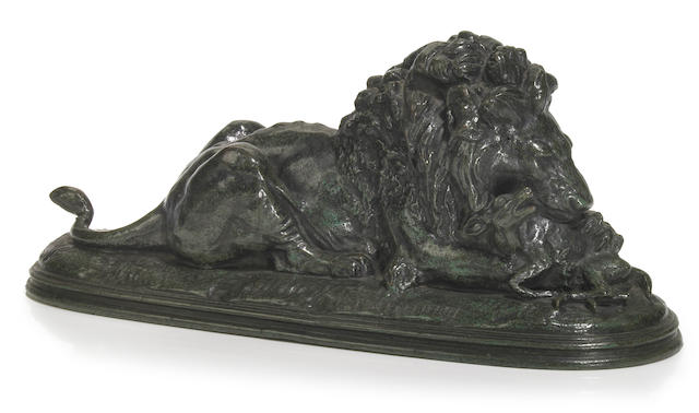 A French patinated bronze model of a lion and antelope  after a model by Paul-Édouard Delabrièrre (French, 1829-1912) late 19th century