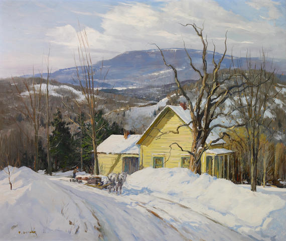 Frank Gervasi (American, born 1895) Hauling wood in the snow 25 x 30in