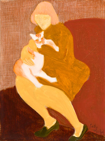 Sally Michel Avery (American, 1902-2003) Seated Girl with Cat 1974 20 x 16in
