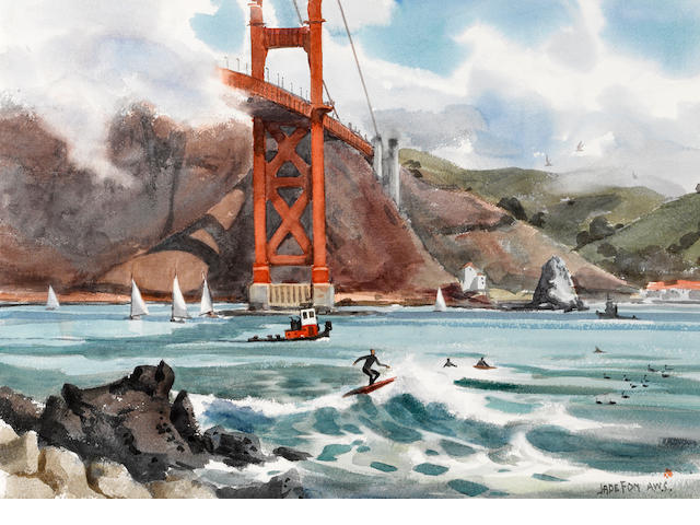 Jade Fon (American, 1911-1983) Surfers at the Golden Gate Bridge, Fort Point, San Francisco 21 x 29in