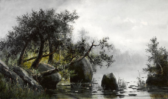 Frederick Ferdinand Schafer (German/American, 1839-1927) Morning on Silver Lake, California 30 x 50in unframed