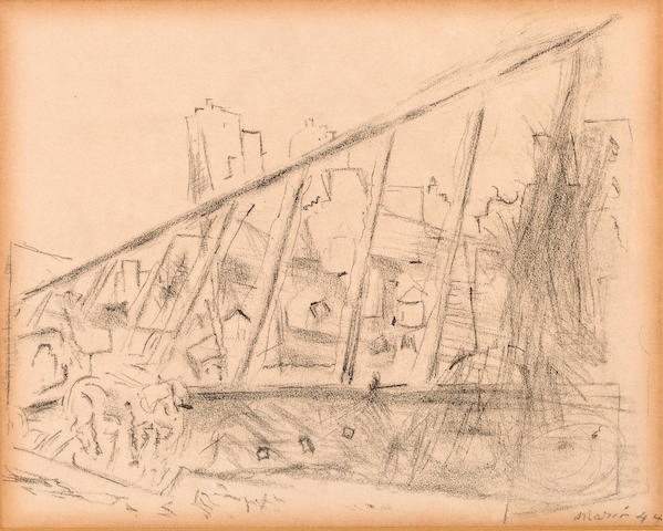 John Marin (American, 1870-1953) View from Brooklyn Bridge 1944 sight 6 x 7 1/2in