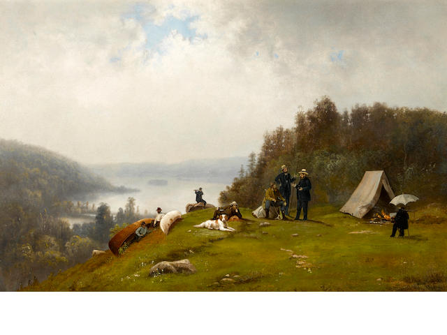 William Hahn (American, 1829-1887) The expedition party  17 1/4 x 26 1/4in unframed