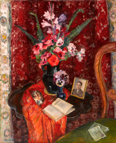 Mabel Alvarez (American, 1891-1985) Still life flowers, shell, open book and framed picture 30 1/4 x 25 1/4in
