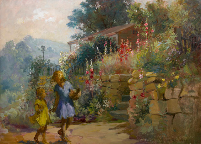 Adam Emory Albright (American, 1862-1957) Wall Flowers (Girls and Hollyhocks) 26 x 36in