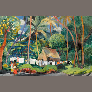 Millard Sheets (American, 1907-1989) Kona village, 1973 sight: 14 1/2 x 22in