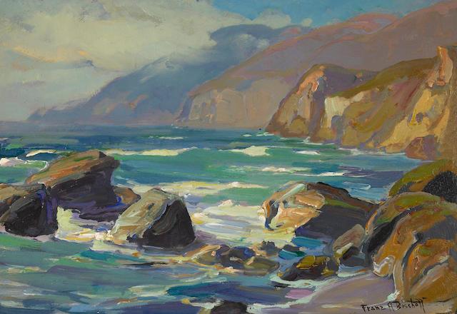 Franz Arthur Bischoff (American, 1864-1929) Rocky Coastline 13 x 19in