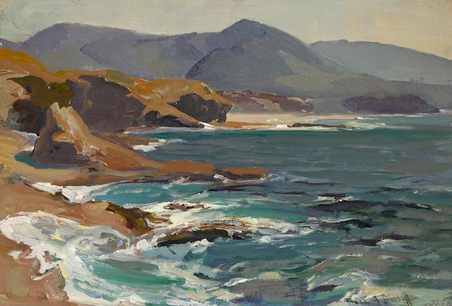 Franz Arthur Bischoff (American, 1864-1929) California coastal scene 13 x 19in