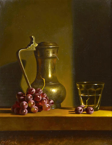 Loran Speck (American, born 1943) Still life with grapes and pewter jug  13 x 10 1/2in