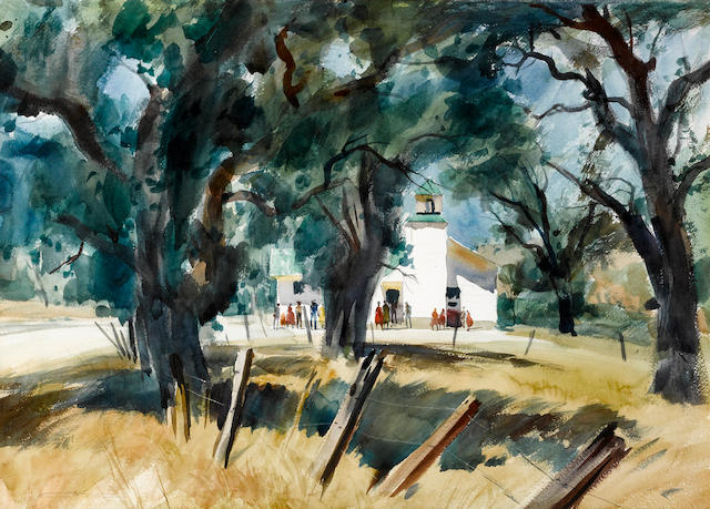 Emil Jean Kosa, Jr. (American, 1903-1968) The old schoolhouse sight: 21 x 29in