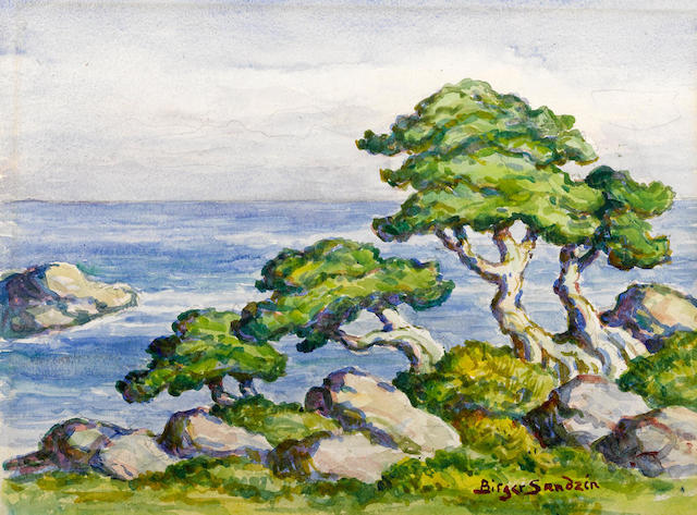 Birger Sandzen (American, 1871-1954) Cedars by the sea, Carmel, California, 1951 11 1/4 x 15in