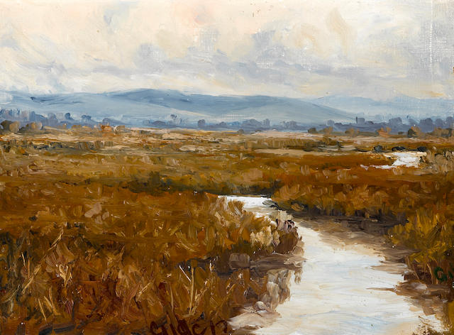 Selden Connor Gile (American, 1877-1947) Marsh land 9 x 12 1/4in