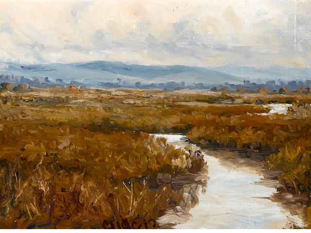 Selden Connor Gile (American, 1877-1947) Marsh land, 1909 9 x 12 1/4in