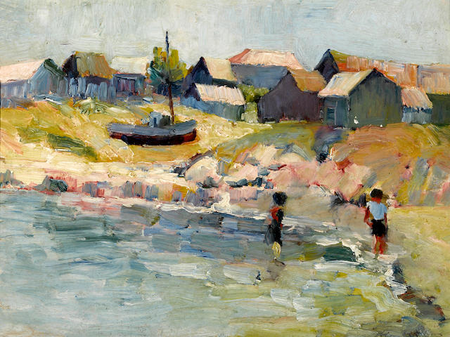 August Gay (American, 1890-1948) Children wading at the water's edge; Farm scene (double-sided) 10 x 13 1/4in