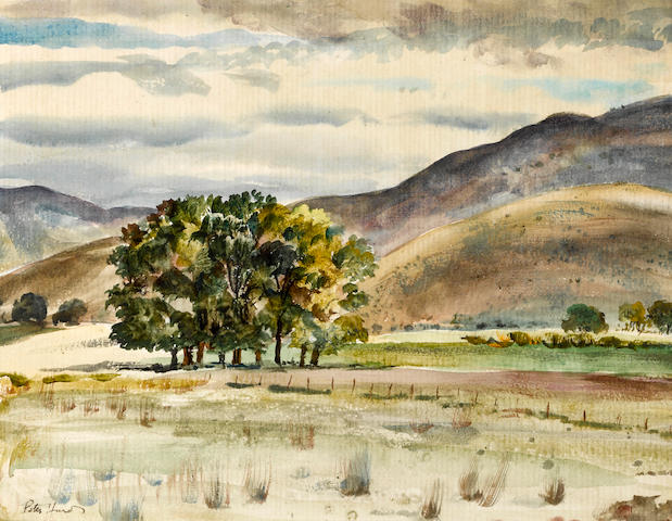 Peter Hurd (American, 1904-1984) Sun breaking through the clouds; A stand of trees by the hills (a pair) first sight: 11 x 15in; second sight: 10 1/2 x 14in