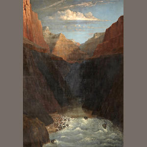 Frederick Samuel Dellenbaugh, Grand Canyon, 1877, oil/canvas, 45 x 31 In the Grand Canyon, 1877 45 x 31in