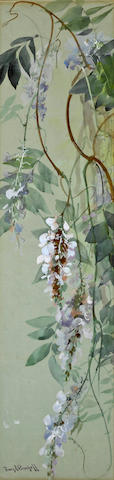 Franz Arthur Bischoff (American, 1864-1929) Wisteria sight: 28 1/4 x 7in