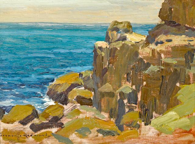 Granville Redmond (American, 1871-1935) Rocky Cliffs, Catalina Island, 1920 6 x 8 1/4in