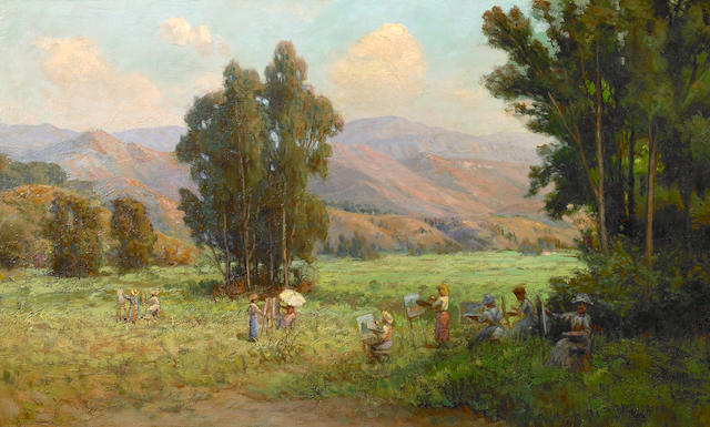 William Lees Judson (American, 1842-1928) The Outdoor Painting Class 18 x 30 1/4in
