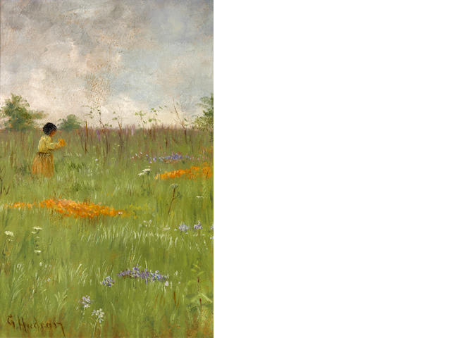 Grace Carpenter Hudson (American, 1865-1937) Girl in a field of poppies and lupine 10 1/2 x 7in