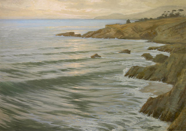 Frank William Cuprien (American, 1871-1948) Parting day, Arch Beach 28 x 40in