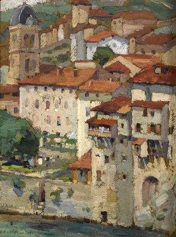 Harry B. Lachman (American, 1886-1975) Park in Algiers, 1915; In the Dauphine, 1914 (two)  first 10 3/4 x 13 3/4in; second 13 3/4 x 10 1/2in