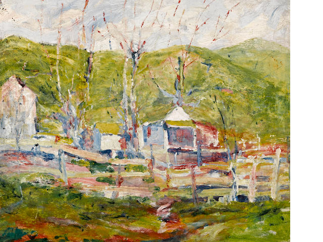 August Gay (American, 1890-1948) Contra Costa Ranch, 1924 15 3/4 x 18 3/4in