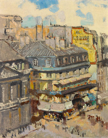 Alson Skinner Clark (1876-1949) From the Balcony Window of the Hotel du Louvre, Paris, 1936 9 1/4 x 7 1/2in