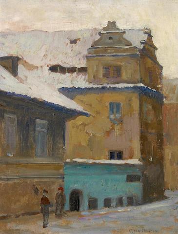 Alson Skinner Clark (1876-1949) Prague in Winter, 1912 9 1/2 x 7 1/4in