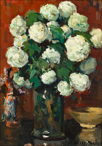 Jules Eugène Pages (American, 1867-1946) Still life with pink an yellow roses in a vase; Still life with white flowers in a vase (a pair) each: 8 ¾ x 6 1/4in