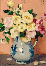 Jules Eugène Pages (American, 1867-1946) A Still Life with Pink an Yellow Roses in a Vase; A Still Life with White Flowers in a Vase each: 8 ¾ x 6 1/4in