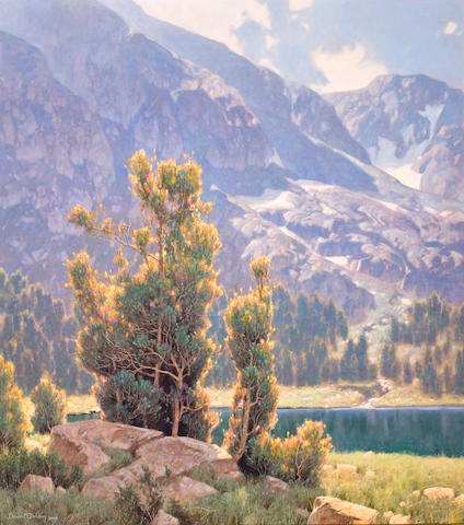Dennis Doheny (American, born 1956) Lake and mountain scene, 2003 36 x 32in