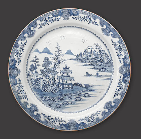 A massive blue and white export porcelain charger Qianlong period