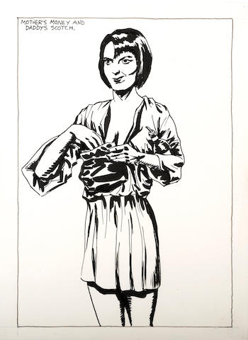 Raymond Pettibon (American, born 1957) No Title (Mother's Money...), 1984 14 x 10 1/4in
