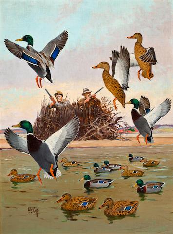 Lynn Bogue Hunt (American, 1878-1960)  Hunting on the Missouri River 27 x 19 3/4in