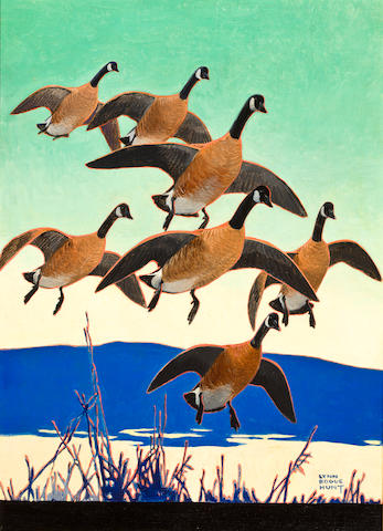 Lynn Bogue Hunt (American, 1878-1960) Canadian Geese 23 1/2 x 17in
