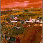 Henrietta Berk (American, 1919-1993) Farmland in Red 10 x 10in