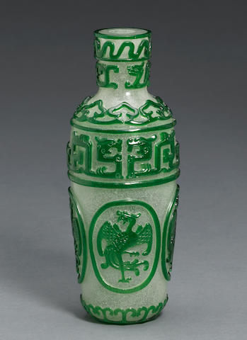 A snowflake and green overlay Peking glass vase Qianlong mark