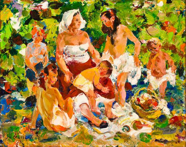 John Edward Costigan (American, 1888-1972) Family picnic 16 x 20in