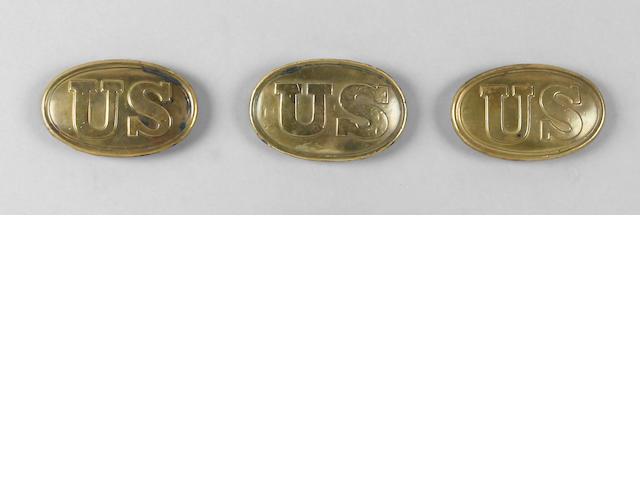 A lot of three U.S. Model 1839 waistbelt/accoutrement plates