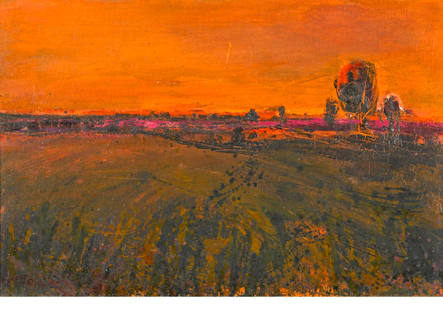 Henrietta Berk (American, 1919-1993) Sunset over the Fields 12 x 18in