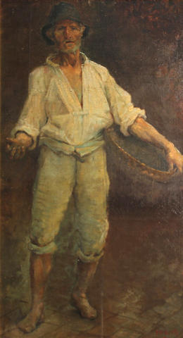 P.V. Bush, Italian laborer, signed l/r: 'P.V. Bush, Roma', o/canvas board, 24 1/2 x 13 1/2in