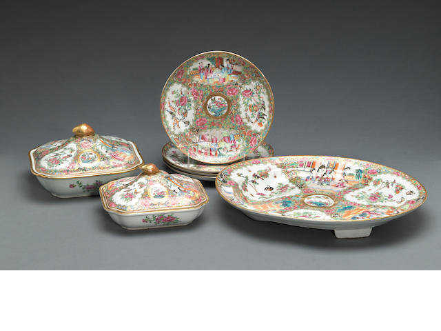 A 'Rose Medallion' enameled and gilt porcelain partial dinner service